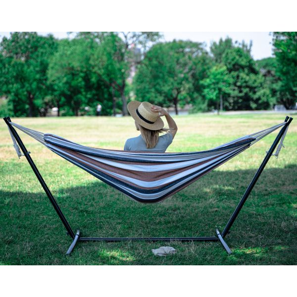 Portable Two Person Grey Tan & White Pattern Outdoor ...
