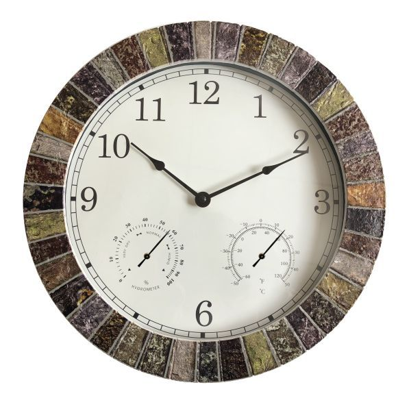 Weather Monitoring Indoor Outdoor Looks Like Stone Multicolor Clock Order At Naturehills Com