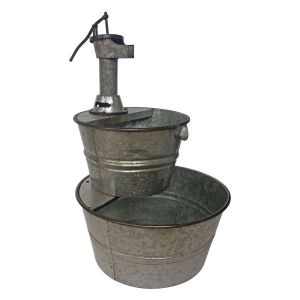 Two-Tier Galvanized Metal Barrel Fountain With Pump