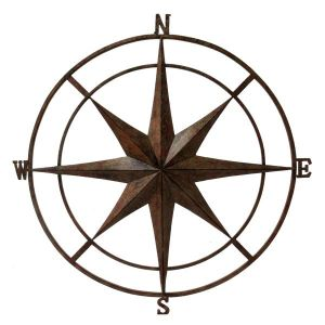 Rustic Outdoor Wall Compass Brown