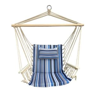 Hanging Hammock Chair With Pillow Blue & Grey Pattern