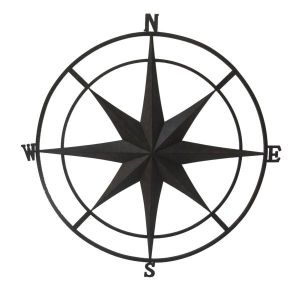 Rustic Outdoor Wall Compass Black