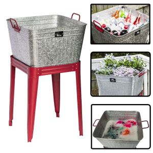 Metal Beverage Tub / Planter With Stand