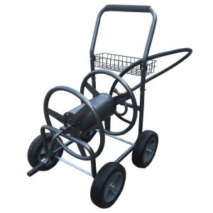 4 Wheel Hose Reel Cart Hammertone Grey Finish