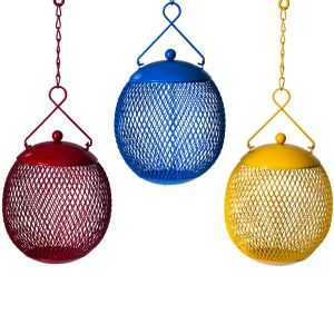 Set of 3 Round Mesh Squirrel Proof Bird Feeders In Red Blue & Yellow