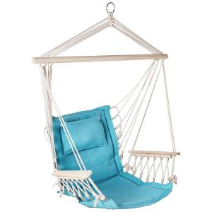 Hanging Hammock Chair With Pillow Solid Aqua Pattern