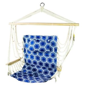 Hanging Hammock Chair With Pillow Blue With White Rings