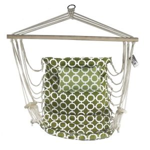Hanging Hammock Chair With Pillow Green With White Rings