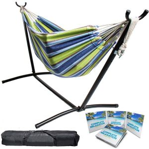 Portable Two Person Green & Blue Pattern Outdoor Hammock With Stand