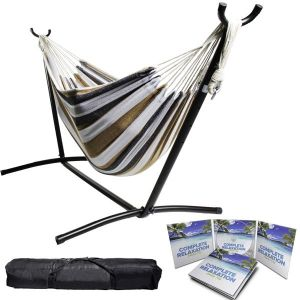 Portable Two Person Grey Tan & White Pattern Outdoor Hammock With Stand