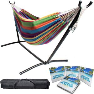 Portable Two Person Rainbow Colors Pattern Outdoor Hammock With Stand