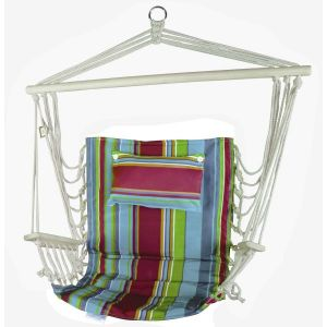 Hanging Hammock Chair With Pillow Red Blue & Green Stripes