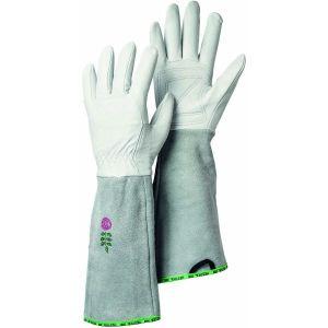 Hestra Grey / Off White Arden Rose Long Cuff Goatskin Gloves