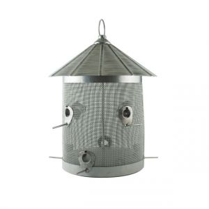 Woodlink Rustic Farmhouse Galvanized Silo Combo 10 lb Seed Feeder With Perch