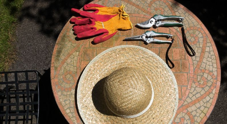 Hat, Gloves, And Shears On Table