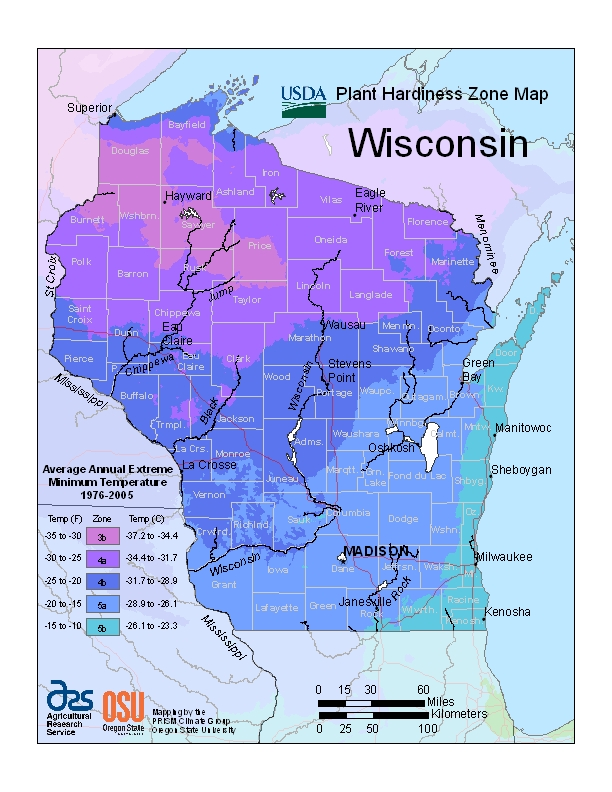 Wisconsin Plant Zone Map