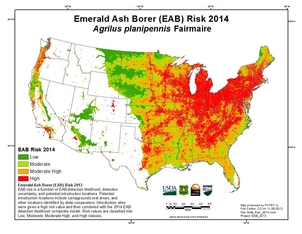 Look at how far the Emerald Ash Borer has moved across the US. Scary.